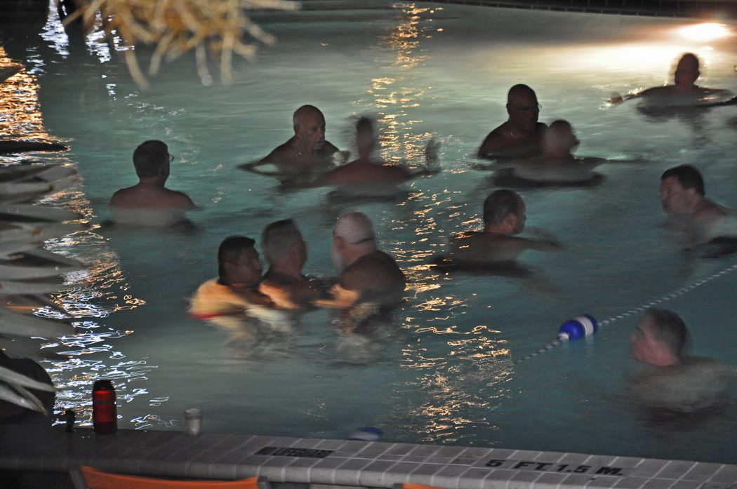 Pool temperture will be regulated by the number of men in the water.